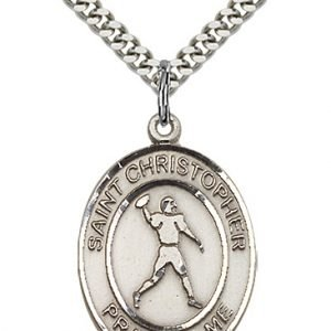 Christopher Football Medal Large - Sterling Silver (#86751)