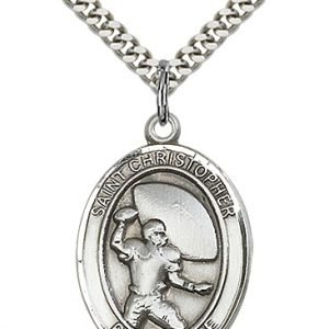 Christopher Football Medal Large Sterling Silver 86759