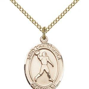 Christopher Football Medal Medium - 14 Karat Gold Filled (#86768)