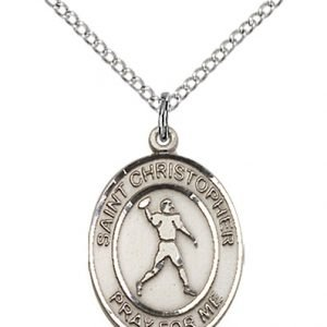 Christopher Football Medal Medium - Sterling Silver (#86771)