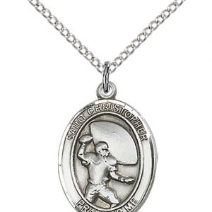 Christopher Football Medal Medium Sterling Silver 86779
