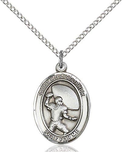 Christopher Football Medal Medium Sterling Silver 86779