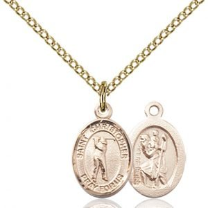 Christopher Golf Medal Charm 14 Karat Gold Filled 86330
