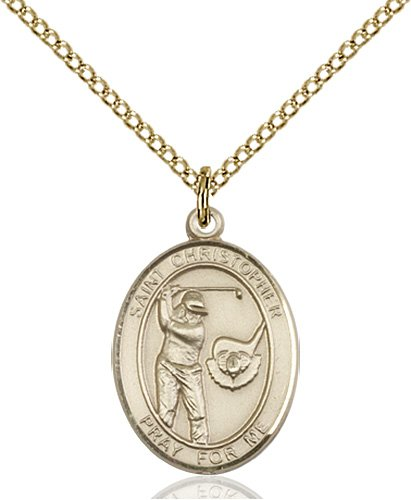 Christopher Golf Medal Medium - 14 Karat Gold Filled (#86170)