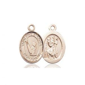 Christopher Gymnastics Medal Charm - 14 Karat Gold (#86308)