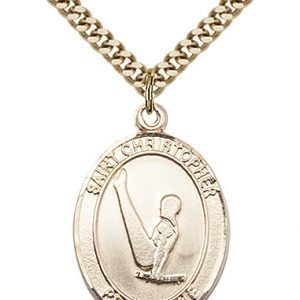 Christopher Gymnastics Medal Large 14 Karat Gold Filled 85684