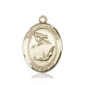 Christopher Gymnastics Medal Medium 14 Karat Gold 86200