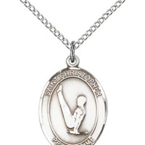 Christopher Gymnastics Medal Medium Sterling Silver 85957