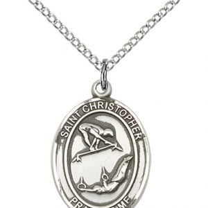 Christopher Gymnastics Medal Medium - Sterling Silver (#86201)