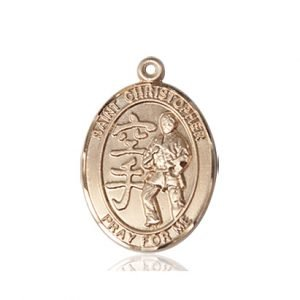 Christopher Karate Medal Medium 14 Karat Gold 86204
