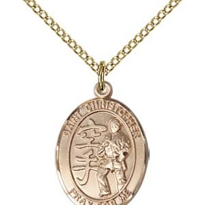 Christopher Karate Medal Medium - 14 Karat Gold Filled (#86202)