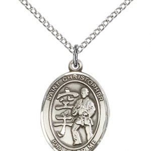 Christopher Karate Medal Medium Sterling Silver 86205