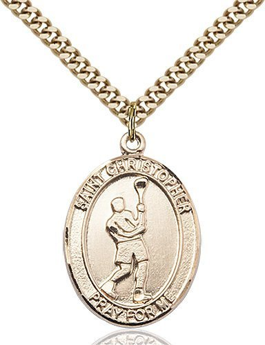 Christopher LaCrosse Medal Large - 14 Karat Gold Filled (#85688)