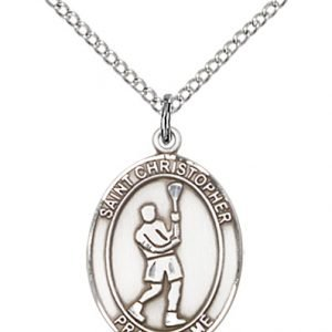 Christopher Lacrosse Medal Medium Sterling Silver 85965