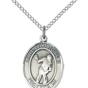 Christopher Lacrosse Medal Medium Sterling Silver 86209