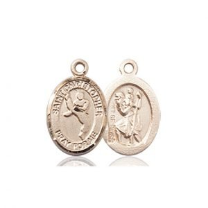 Christopher Martial Arts Medal Charm - 14 Karat Gold (#86356)