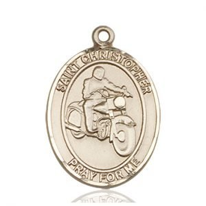 Christopher Motorcycle Medal Large - 14 Karat Gold (#85792)
