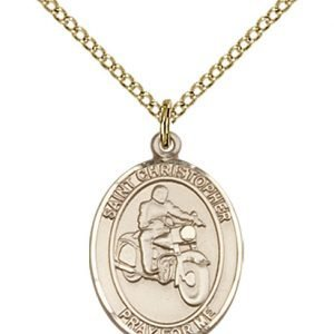 Christopher Motorcycle Medal Medium 14 Karat Gold Filled 86098