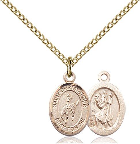 Christopher Rodeo Medal Charm - 14 Karat Gold Filled (#86478)