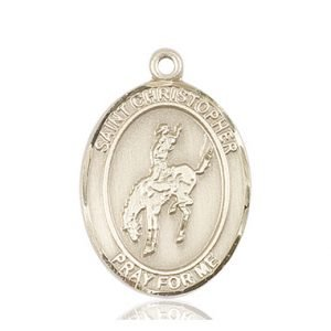 Christopher Rodeo Medal Large - 14 Karat Gold (#85820)