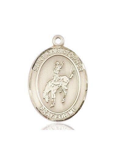 Christopher Rodeo Medal Large - 14 Karat Gold (#85820)