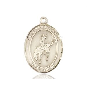 Christopher Rodeo Medal Medium 14 Karat Gold 86128