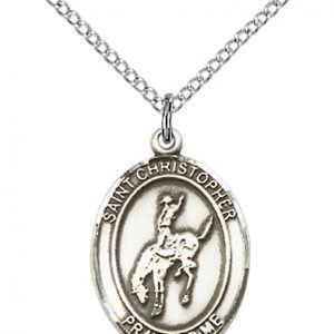 Christopher Rodeo Medal Medium - Sterling Silver (#86129)