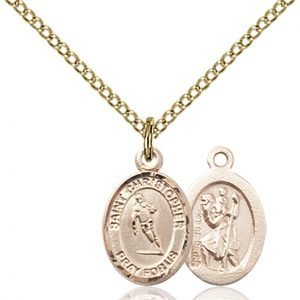 Christopher Rugby Medal Charm - 14 Karat Gold Filled (#86486)