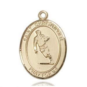 Christopher Rugby Medal Large - 14 Karat Gold (#85828)