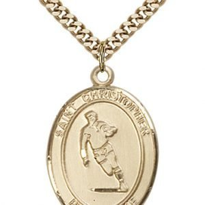 Christopher Rugby Medal Large 14 Karat Gold Filled 85826