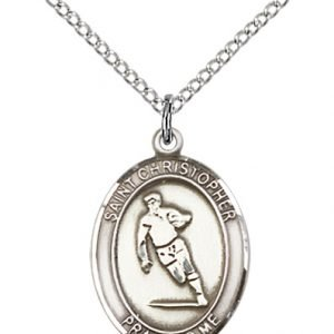 Christopher Rugby Medal Medium Sterling Silver 86137