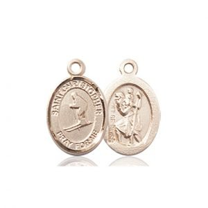 Christopher Skiing Medal Charm 14 Karat Gold 86484