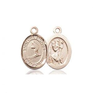 Christopher Skiing Medal Charm 14 Karat Gold 86484