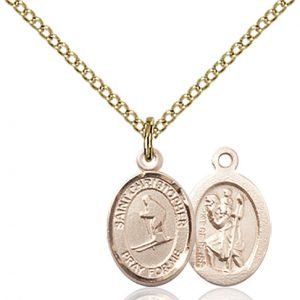 Christopher Skiing Medal Charm - 14 Karat Gold Filled (#86482)