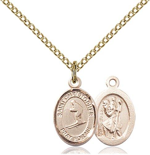 Christopher Skiing Medal Charm - 14 Karat Gold Filled (#86482)