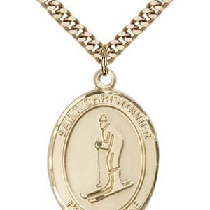 Christopher Skiing Medal Large 14 Karat Gold Filled 85822