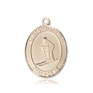 Christopher Skiing Medal Medium - 14 Karat Gold (#86132)