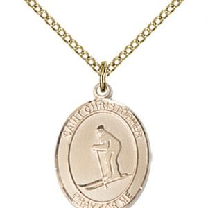 Christopher Skiing Medal Medium 14 Karat Gold Filled 86130