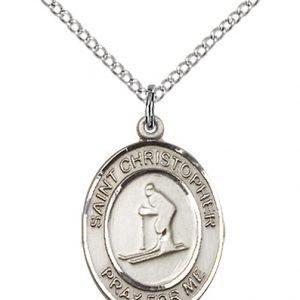 Christopher Skiing Medal Medium Sterling Silver 86133