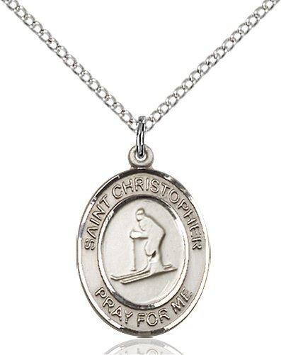 Christopher Skiing Medal Medium Sterling Silver 86133