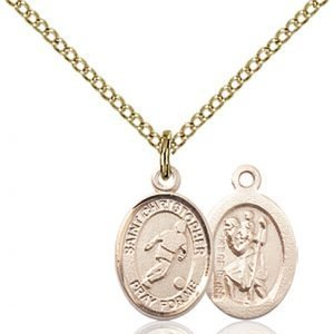 Christopher Soccer Medal Charm 14 Karat Gold Filled 86338