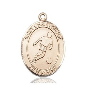 Christopher Soccer Medal Large - 14 Karat Gold (#85714)