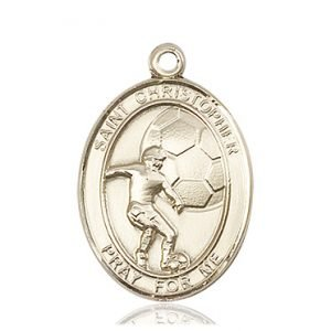 Christopher Soccer Medal Large 14 Karat Gold 85852