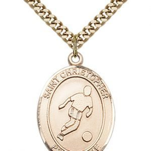 Christopher Soccer Medal Large - Gold Filled (#85712)