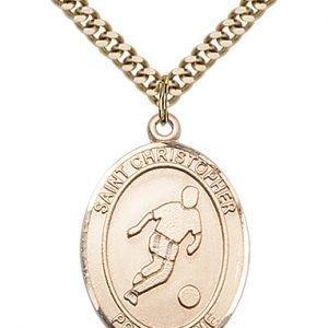Christopher Soccer Medal Large - Gold Filled (#85712)