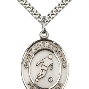 Christopher Soccer Medal Large Sterling Silver 85715