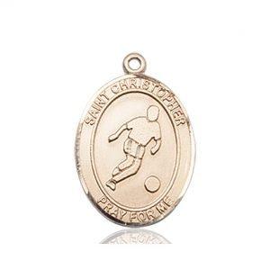 Christopher Soccer Medal Medium - 14 Karat Gold (#85988)