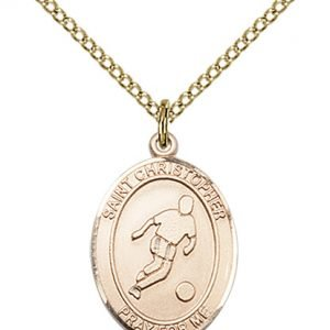 Christopher Soccer Medal Medium - 14 Karat Gold Filled (#85986)