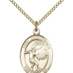 Christopher Soccer Medal Medium 14 Karat Gold Filled 86158