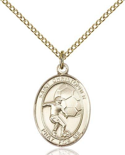 Christopher Soccer Medal Medium 14 Karat Gold Filled 86158